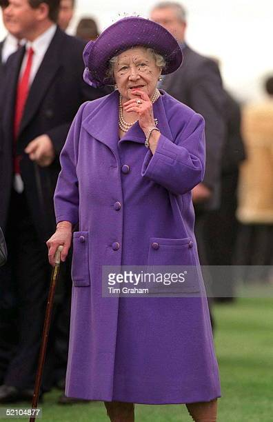The Queen Mother Is Looking Thoughtful As She Watches The Horse Racing At Cheltenham