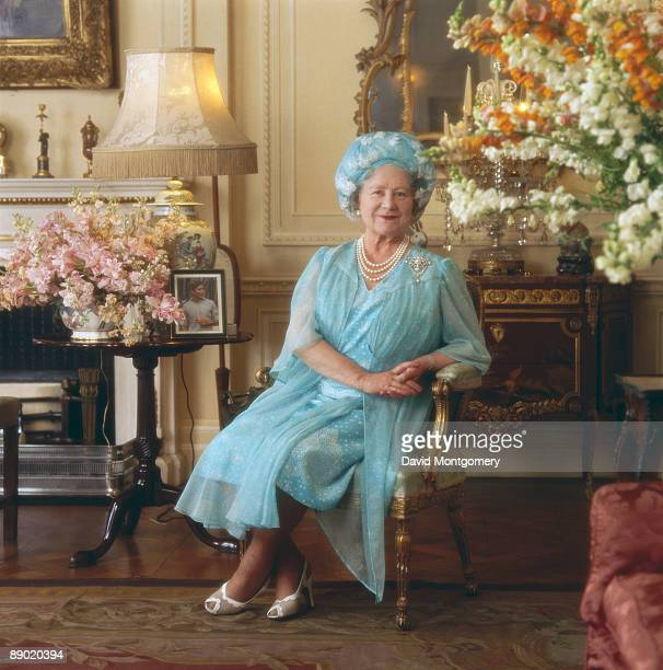 The Queen Mother , mother of Queen Elizabeth II, at Clarence House, her London home, circa 1990.
