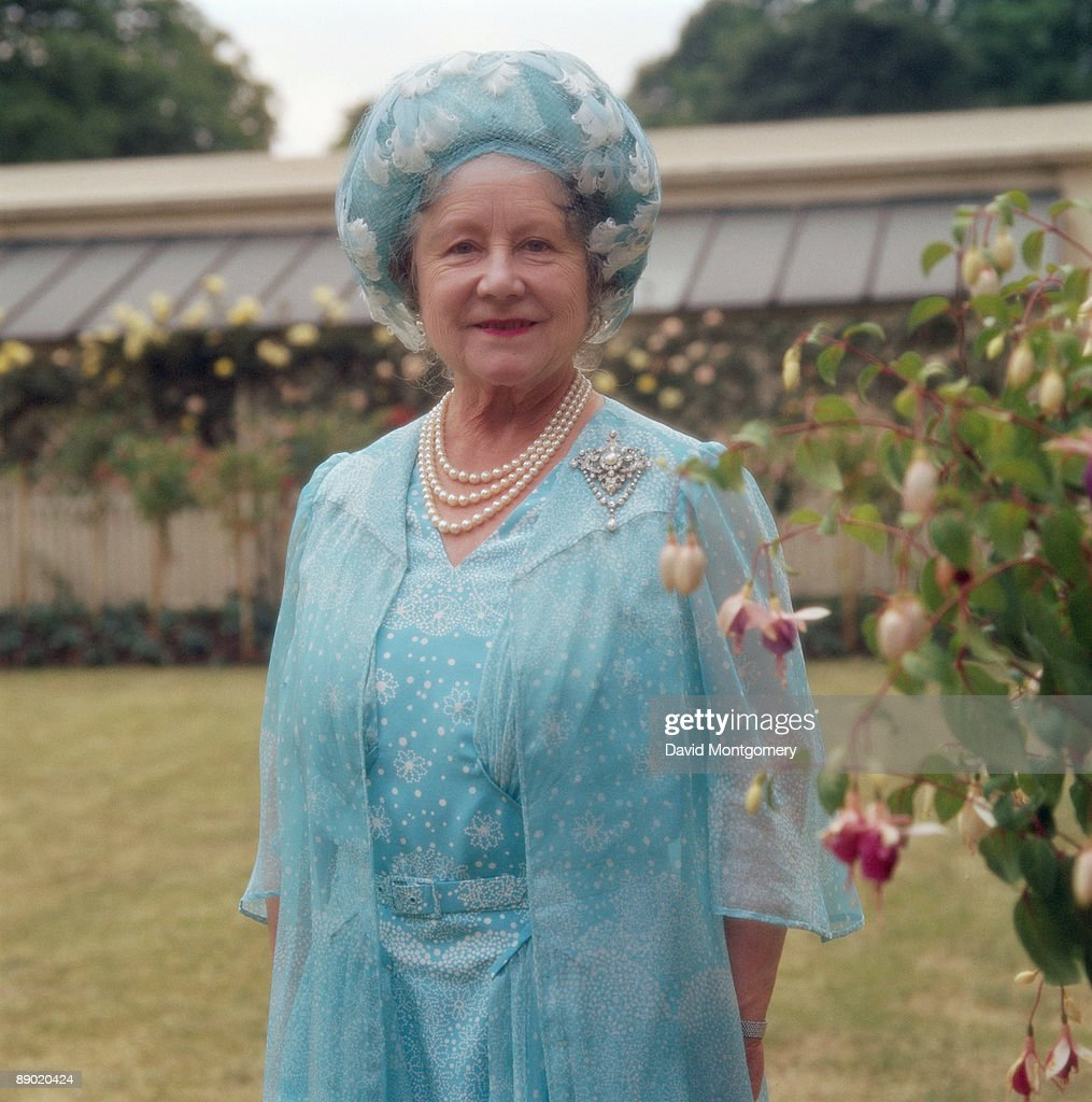 The Queen Mother (1900 - 2002), mother of Queen Elizabeth II, in the garden of Clarence House, her London home, circa 1990.