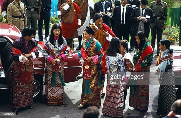 The Queen Mother of Bhutan Her Royal Highness Ashi Kesang the princesses and other members of the royal family arrive at Tashichodzong Palace in...