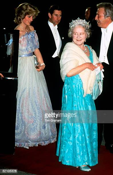 The Queen Mother Prince Charles And Princess Diana [ Prince And Princess Of Wales ] Arriving For The Royal Variety Performance At The Victoria Palace...