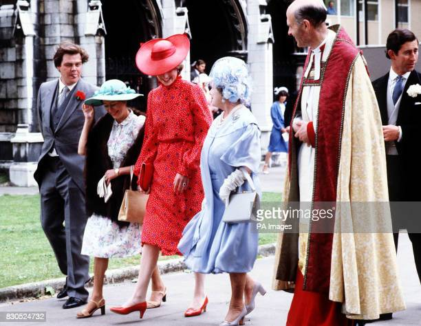 The Queen Mother Princess Margaret and Lady Diana Spencer arriving at St Margaret's Church Westminster for the wedding of Nicholas soames and...