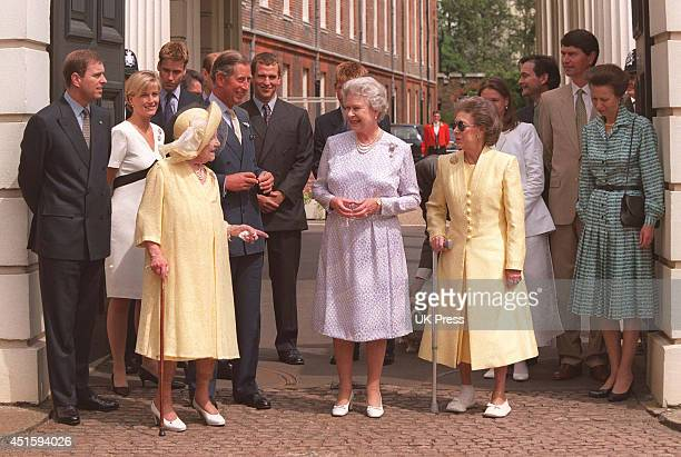 The Queen Mother Queen Elizabeth II and Princess Margaret along with members of The Royal Family attend The Queen Mothers 99th Birthday Celebrations...