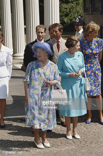 The Queen Mother Queen Elizabeth II Prince Edward Prince Charles and Diana Princess of Wales outside Clarence House on the occasion of the 89th...