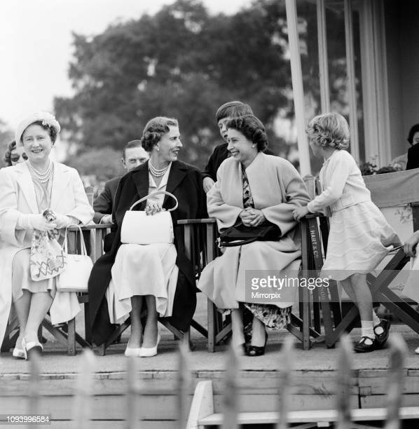The Queen Mother, Queen Ingrid of Denmark and Her Majesty Queen Elizabeth II watching Prince Philip, Duke of Edinburgh playing Polo at Windsor Park....