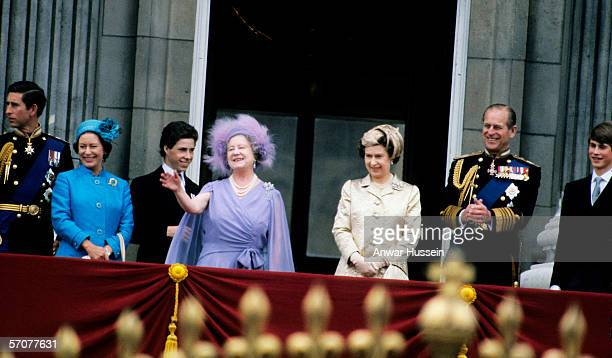 The Queen Mother surrounded by her family including Prince Charles Princess Margaret Lord Linley Queen Elizabeth ll Prince Phillip and Prince Edward...