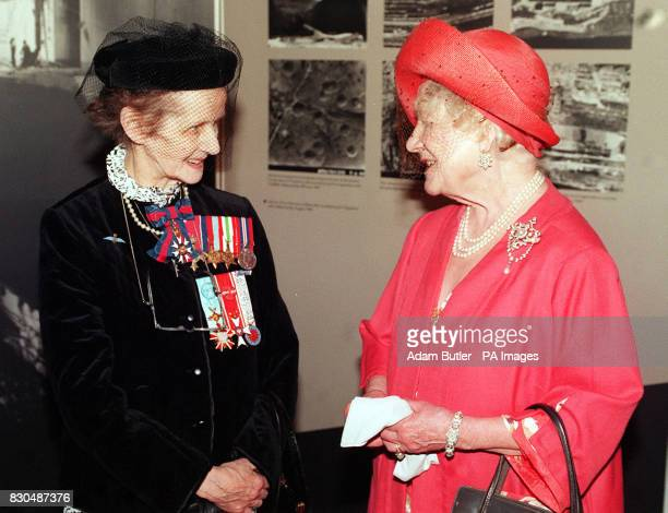 The Queen Mother talks to Sue Ryder during her visit to the Imperial War Museum to mark the 50th anniversary of the Dambusters attack during the...