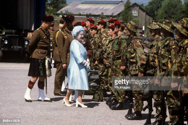 The Queen Mother talks to the troops of the Black Watch Regiment at The Catterick Camp Yorkshire