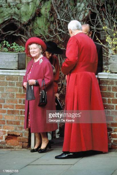The Queen Mother the Dean of Windsor and Prince Philip attend the Royal Easter Service at St George's Chapel on March 26 1989 in Windsor England