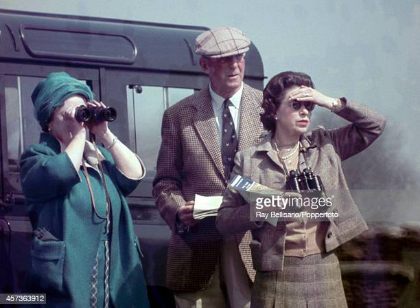 The Queen Mother the Duke of Beaufort and Queen Elizabeth II watching the Badminton Horse Trials in Gloucestershire on 20th April 1968