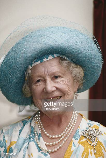 The Queen Mother visiting Ronald Gibson House, a nursing home in Tooting, London, England, Great Britain, 2 June 1992.