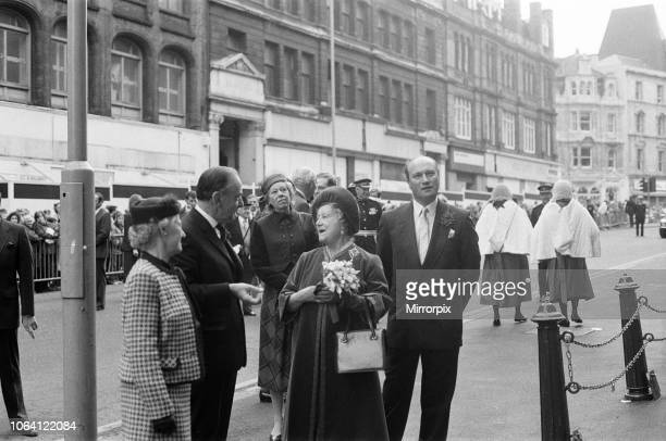 The Queen Mother visits Victoria Law Courts, 100 years after Queen Victoria laid the foundation stone. 18th November 1981.