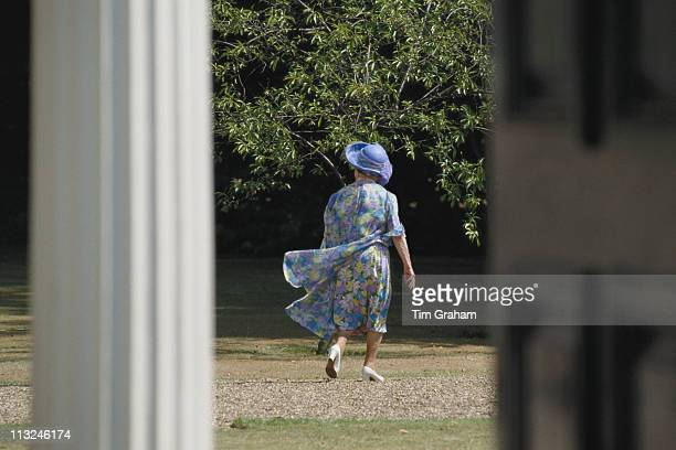 The Queen Mother walking in the grounds of Clarence House in London England Great Britain 4 August 1989