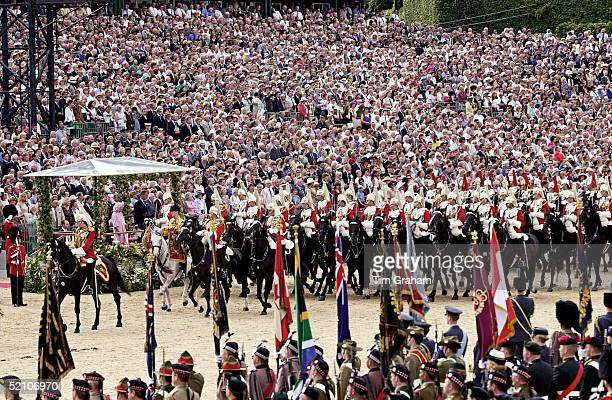 The Queen Mother Watches As The Household Cavalry Parade Past At The Pageant To Celebrate Her 100th Birthday