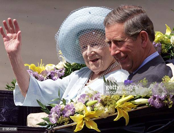 The Queen Mother waves along side Prince Charles as she arrives at Buckingham Palace on her 100th birthday 04 August 2000 The Queen Mother arrived at...