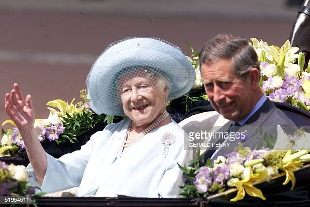 The Queen Mother waves as she arrives at Buckingham Palace along side Prince Charles on her 100th birthday 04 August 2000 The Queen Mother arrived at...