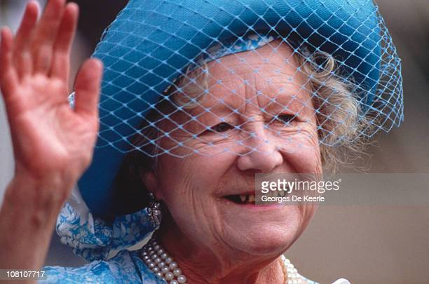 The Queen Mother waves to wellwishers during her 87th birthday celebrations 4th August 1987