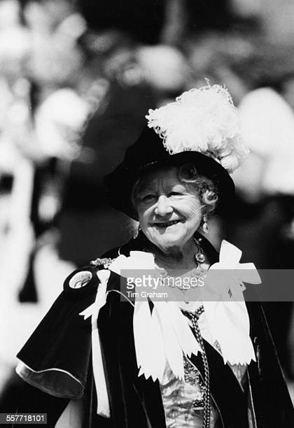 The Queen Mother wearing ceremonial dress as she attends an Order of the Garter ceremony in London June 15th 1987