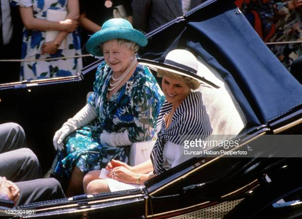 The Queen Mother with Diana, Princess of Wales in the carriage procession at The Royal Ascot race meeting in Ascot, England on 14th June, 1988.