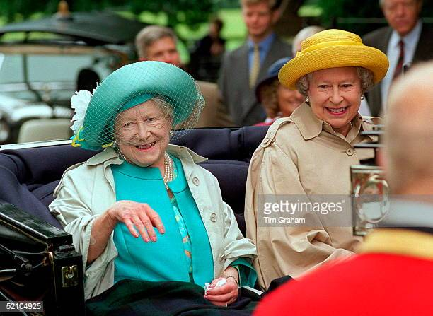 The Queen Mother With Her Daughter, The Queen, Leaving Travelling In An Open Carriage To Sandringham Church In Norfolk Just Before Her 98th Birthday.
