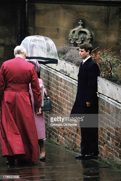 The Queen Mother with the Dean of Windsor and Prince Edward after attending the Royal Christmas Service at St George's Chapel on December 25 1984 in...