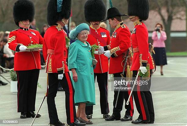 The Queen Mother With The Irish Guards At Elizabeth Barracks Pirbright Surrey On St Patrick's Day