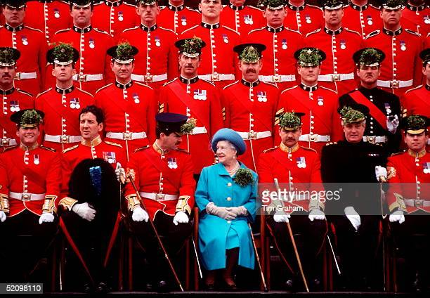 The Queen Mother With The Irish Guards On St Patrick's Day At The Chelsea Barracks