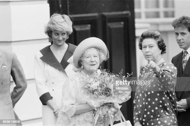 The Queen Mothers 87th birthday celebrations at Clarence House London Left to right is Princess Diana The Queen Mother Queen Elizabeth II and Lord...
