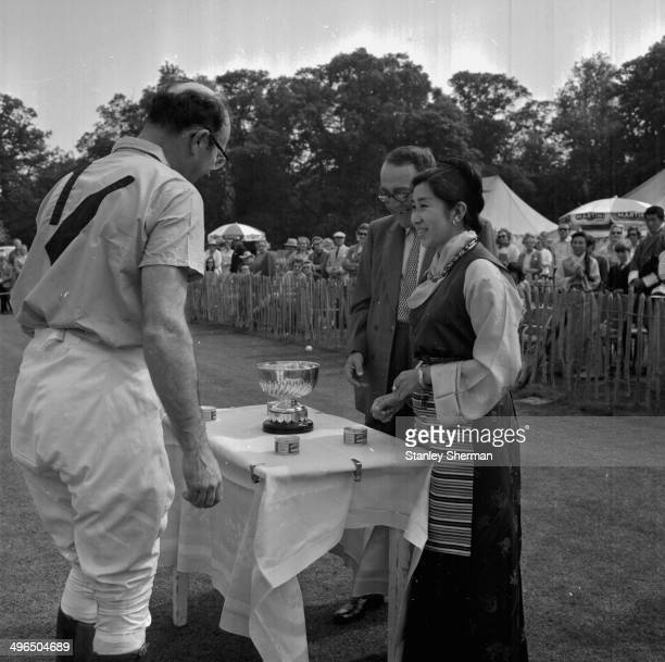 The Queen of Bhutan presenting an award at a polo tournament at Cowdray Park, June 2nd 1968.
