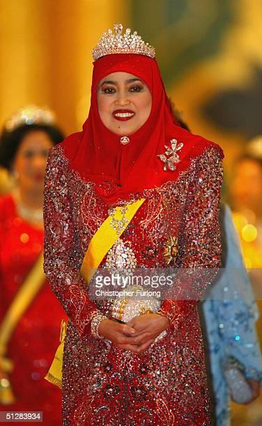 The Queen of Brunei attends the Majlis Istiadat Persantapan Pengantin Diraja following the wedding of His Royal Highness Crown Prince AlMuhtadee...