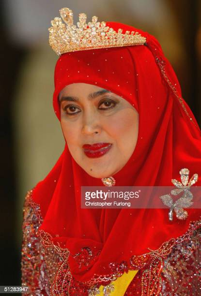 The Queen of Brunei attends the Majlis Istiadat Persantapan Pengantin Diraja following the wedding of His Royal Highness Crown Prince AlMuhtadee...