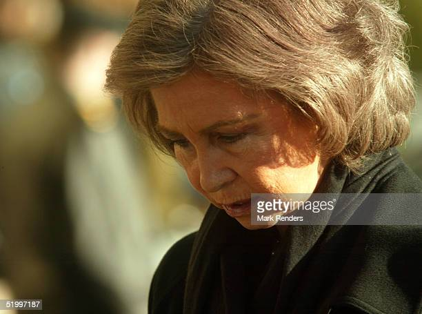The Queen of Denmark leaves the Cathedral after the funeral of the Grand Duchess Josephine Charlotte January 15 2005 in Luxembourg The Grand Duchess...