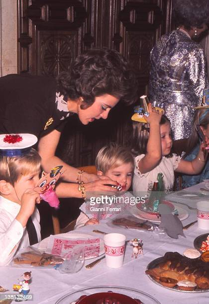 The Queen of Greece Ana Maria in the birthday for her son Paul in the Zarzuela Palace Prince Felipe son of the King of Spain Juan Carlos and Sofia...