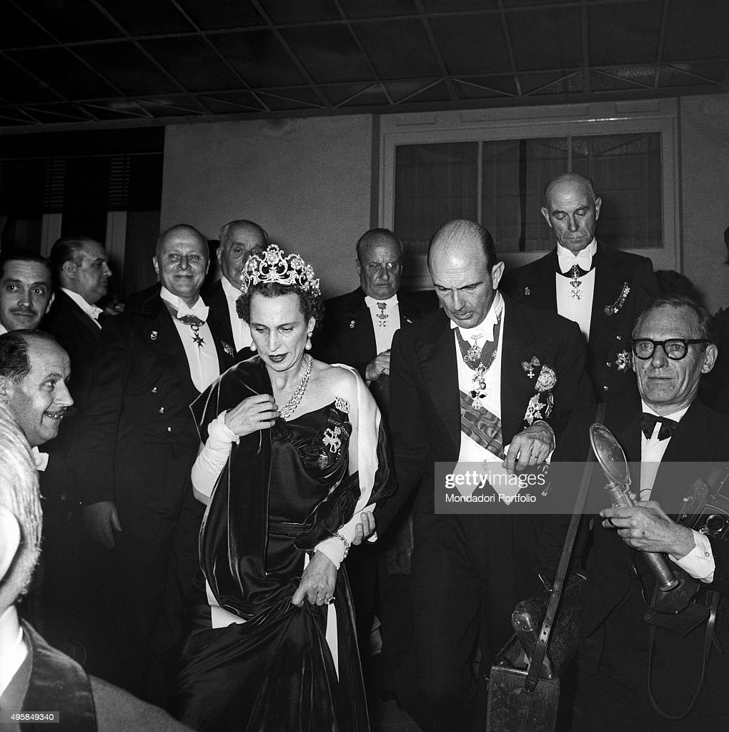 Umberto II of Italy and Marie José of Belgium taking part into their daughter's wedding : News Photo