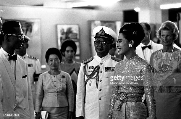 The Queen of Thailand Sirikit shaking her hand on the occasion of a concert with works of Johann Sebastian Bach Bangkok 1965