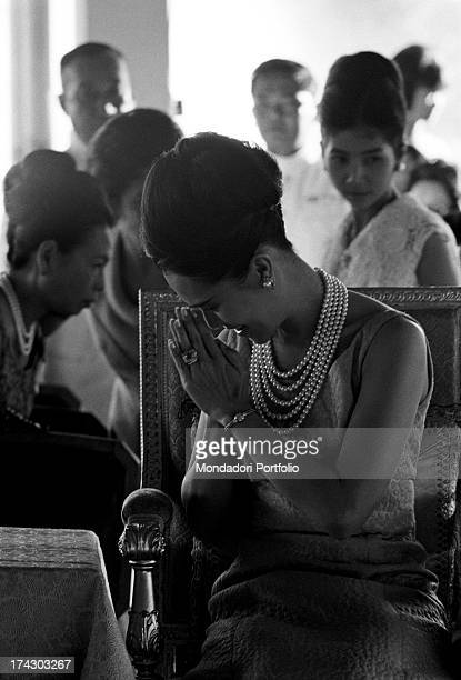 The Queen of Thailand Sirikit smiling at some Thai women Bangkok 1965