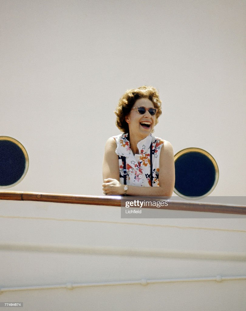 HM The Queen on board HMY Britannia in March 1972. Part of a series of photographs taken for use during the Silver Wedding Celebrations in 1972. (Photo by Lichfield/Getty Images).