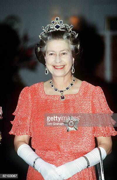 The Queen On Board The Royal Yacht Britannia For A Banquet In Singapore