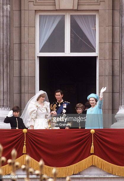 The Queen On The Balcony Of Buckingham Palace With The Prince And Princess Of Wales On Their Wedding Day With Their Pageboys Lord Nicholas Windsor...