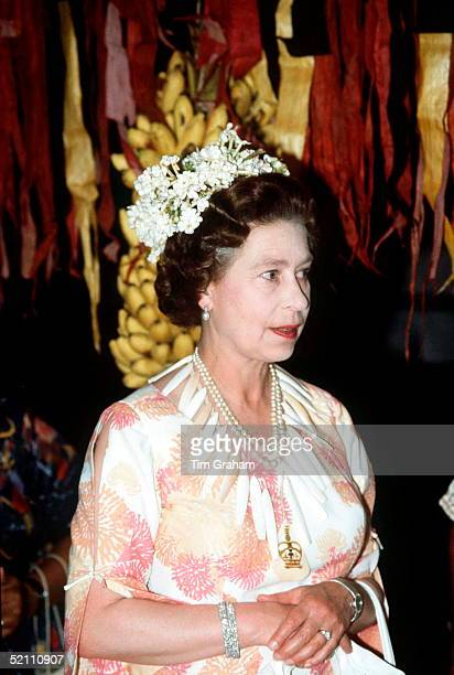 The Queen On The Island Of Tuvalu In The South Pacific Wearing A Crown Of Stephanotis Flowers And A Necklace Of Bone That She Had Been Presented With
