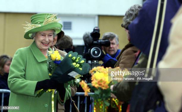 The Queen outside the new Macmillan Cancer Care Hospital at The Queen Elizabeth Hospital in Kings Lynn Norfolk on the 50th anniversary of her...
