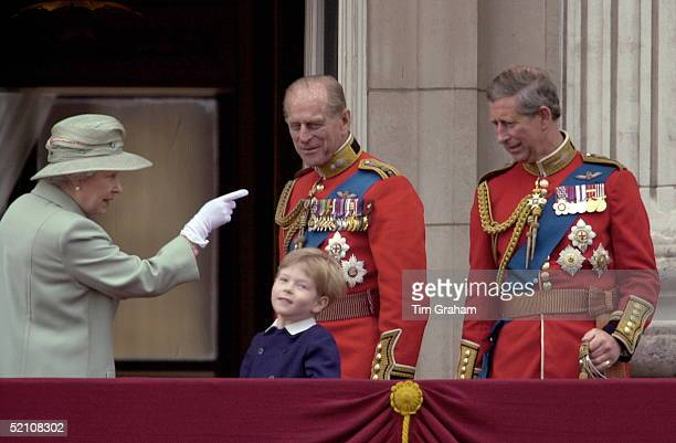 The Queen Pointing At Prince Charles [ Prince Of Wales ] Whilst Talking To Lady Helen And Tim Taylor's Son Columbus Prince Philip [ Duke Of Edinburgh...