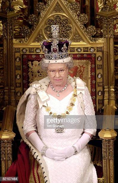 The Queen Preparing To Read Her Speech To The House Of Lords At The State Opening Of Parliament In London