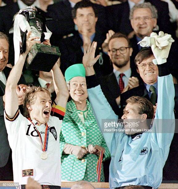 The Queen Presenting The European Championship Cup For The Football Final At Wembley To Footballers Jurgen Klinsman And The German Goalkeeper Andreas...
