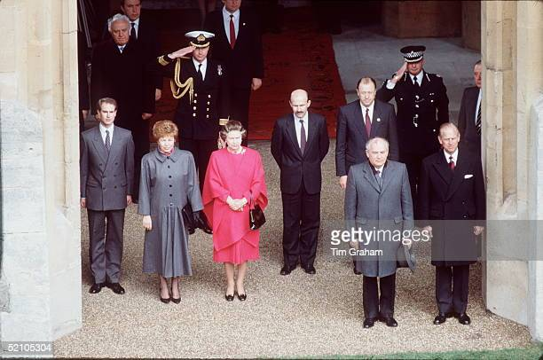 The Queen Prince Philip And Prince Edward With President Gorbachev Of Russia And His Wife Raisa At Windsor Castle During His Official State Visit To...