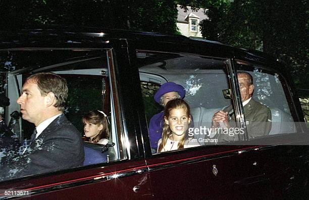 The Queen, Prince Philip, Prince Andrew And Princess Beatrice And Princess Eugenie Travelling To Sunday Service At Crathie Church, Balmoral
