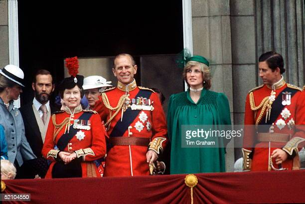 The Queen, Prince Philip, Princess Diana And Prince Charles On The Balcony At Buckingham Palace Watching Trooping The Colour. Princess Diana Pregnant...