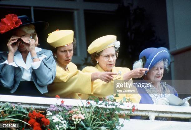 The Queen Queen Mother Princess Anne and Princess Michael of Kent at the Derby Races on 1st June 1988