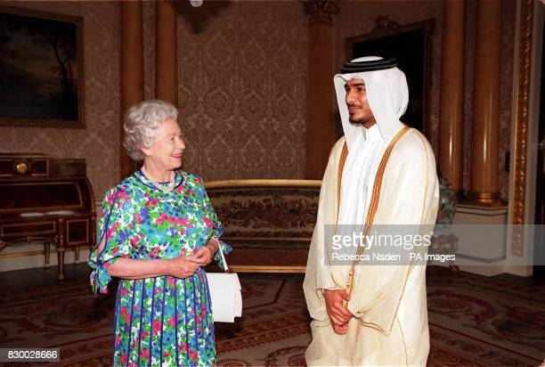 The Queen receives Sheikh Jassim bin Hamad Al Thani, the Crown Prince of Qata, inside Buckingham Palace today . Rota picture by Rebecca Naden/PA