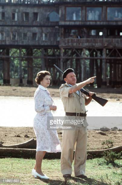 The Queen revisiting Tree Tops Kenya in 1983 during HM The Queen Elizabeth II Revisiting Tree Tops Kenya 1983 in Tree Tops Kenya